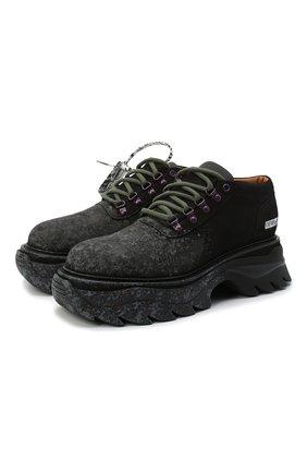 Мужские кожаные ботинки OFF-WHITE черного цвета, арт. 0MIA211R21LEA0011009   Фото 1