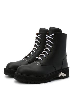 Мужские кожаные ботинки OFF-WHITE черного цвета, арт. 0MID003R21LEA0011000 | Фото 1 (Подошва: Массивная; Мужское Кросс-КТ: Ботинки-обувь; Материал внутренний: Натуральная кожа)