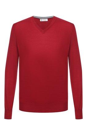 Мужской пуловер из шерсти и кашемира BRUNELLO CUCINELLI красного цвета, арт. M2400162 | Фото 1 (Длина (для топов): Стандартные; Стили: Кэжуэл; Материал внешний: Шерсть; Мужское Кросс-КТ: Пуловеры; Рукава: Длинные; Принт: Без принта; Вырез: V-образный)