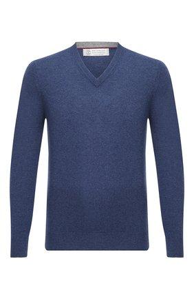 Мужской кашемировый пуловер BRUNELLO CUCINELLI синего цвета, арт. M2200162 | Фото 1