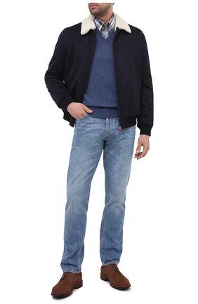 Мужской кашемировый пуловер BRUNELLO CUCINELLI синего цвета, арт. M2200162 | Фото 2