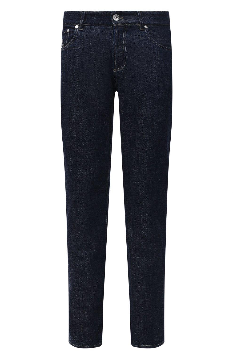 Мужские джинсы BRUNELLO CUCINELLI темно-синего цвета, арт. M0Z37B2210   Фото 1 (Силуэт М (брюки): Прямые; Кросс-КТ: Деним; Длина (брюки, джинсы): Стандартные; Материал внешний: Хлопок; Стили: Кэжуэл)