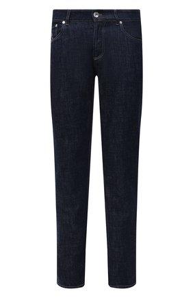 Мужские джинсы BRUNELLO CUCINELLI темно-синего цвета, арт. M0Z37B2210 | Фото 1 (Длина (брюки, джинсы): Стандартные; Стили: Кэжуэл; Кросс-КТ: Деним; Материал внешний: Хлопок; Силуэт М (брюки): Прямые)