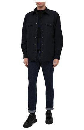 Мужские джинсы BRUNELLO CUCINELLI темно-синего цвета, арт. M0Z37B2210 | Фото 2 (Длина (брюки, джинсы): Стандартные; Стили: Кэжуэл; Кросс-КТ: Деним; Материал внешний: Хлопок; Силуэт М (брюки): Прямые)