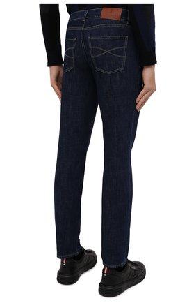 Мужские джинсы BRUNELLO CUCINELLI темно-синего цвета, арт. M0Z37B2210   Фото 4 (Силуэт М (брюки): Прямые; Кросс-КТ: Деним; Длина (брюки, джинсы): Стандартные; Материал внешний: Хлопок; Стили: Кэжуэл)