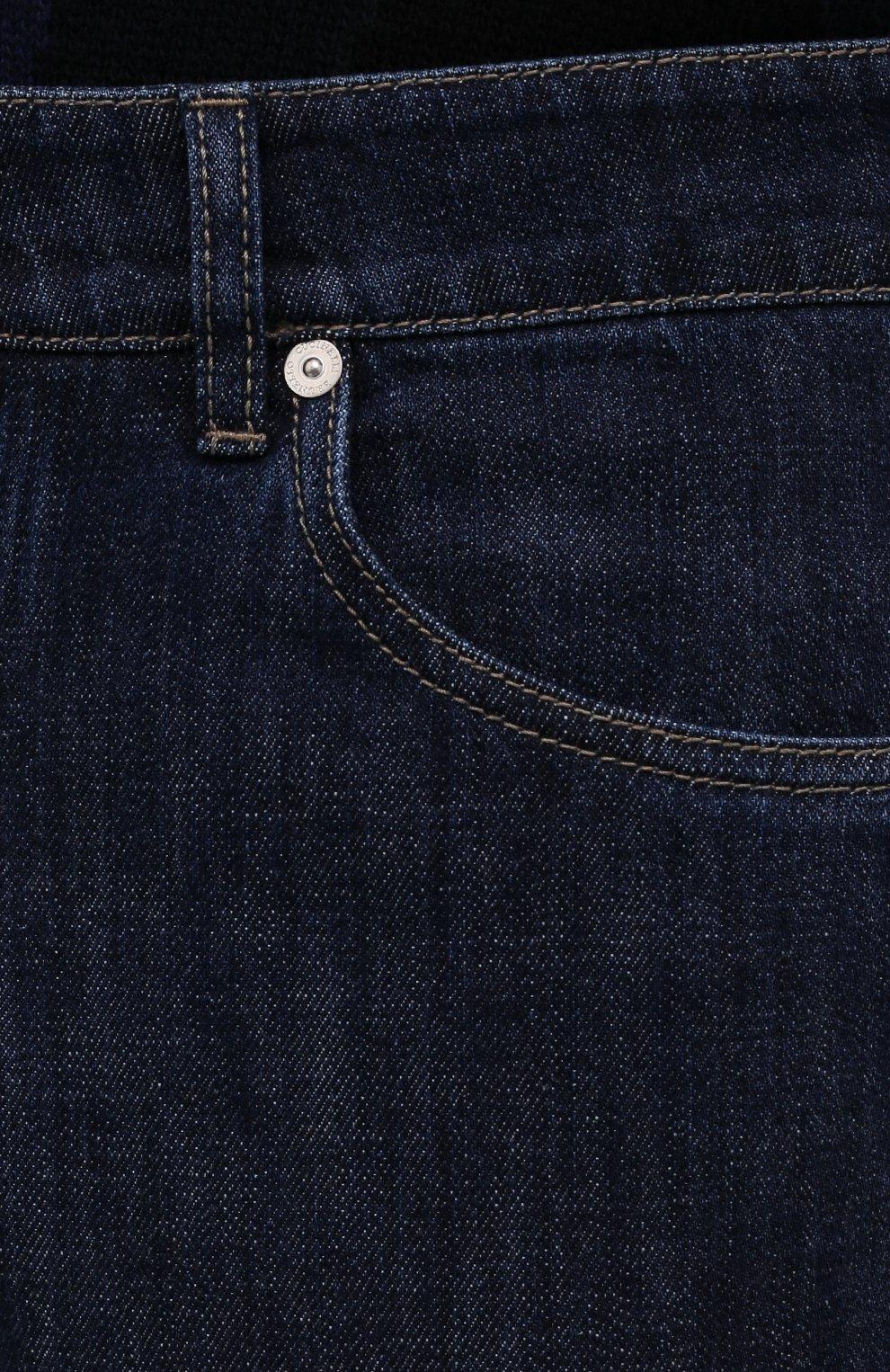 Мужские джинсы BRUNELLO CUCINELLI темно-синего цвета, арт. M0Z37B2210   Фото 5 (Силуэт М (брюки): Прямые; Кросс-КТ: Деним; Длина (брюки, джинсы): Стандартные; Материал внешний: Хлопок; Стили: Кэжуэл)