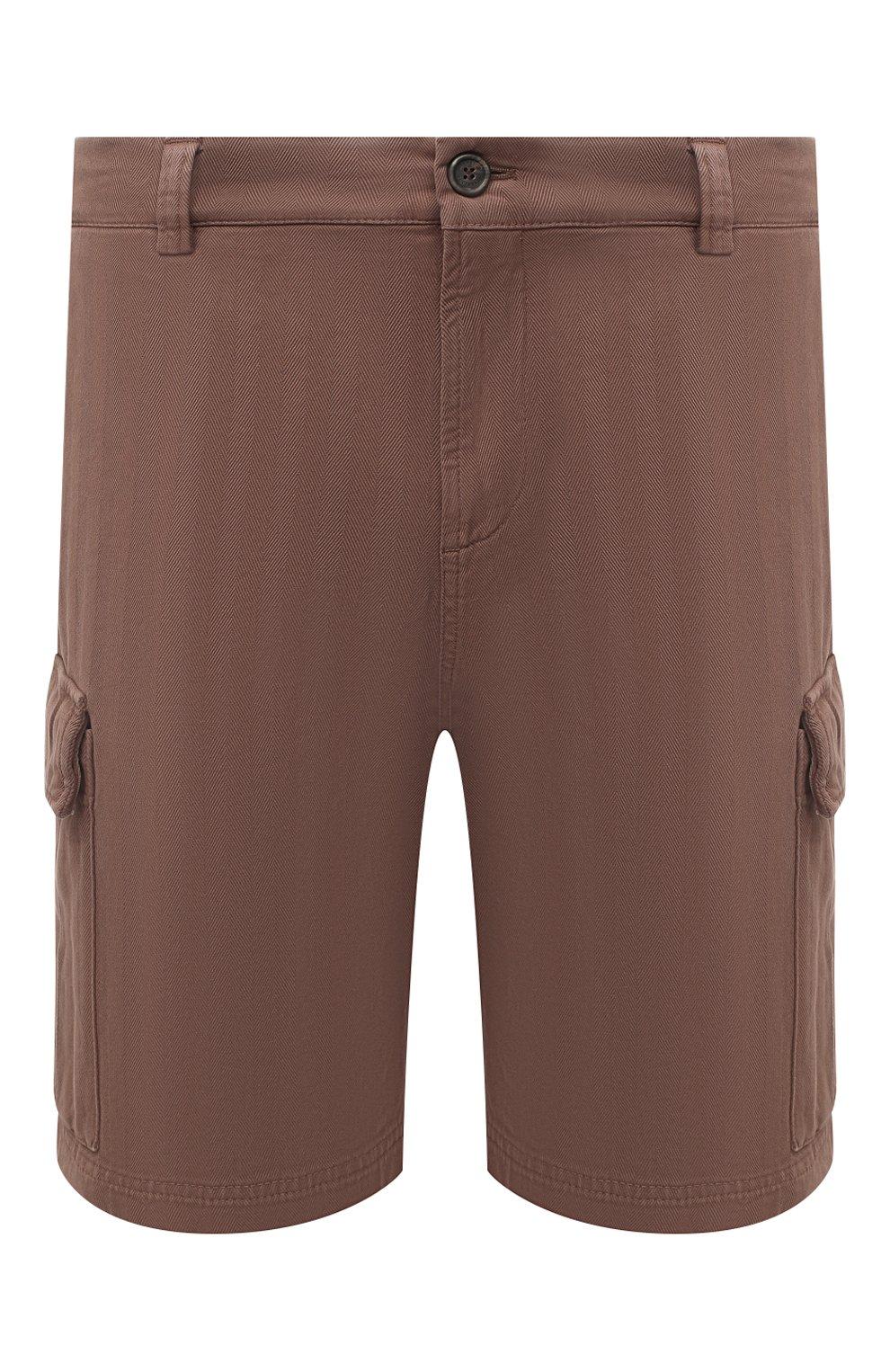 Мужские хлопковые шорты BRUNELLO CUCINELLI коричневого цвета, арт. M269DV0310 | Фото 1