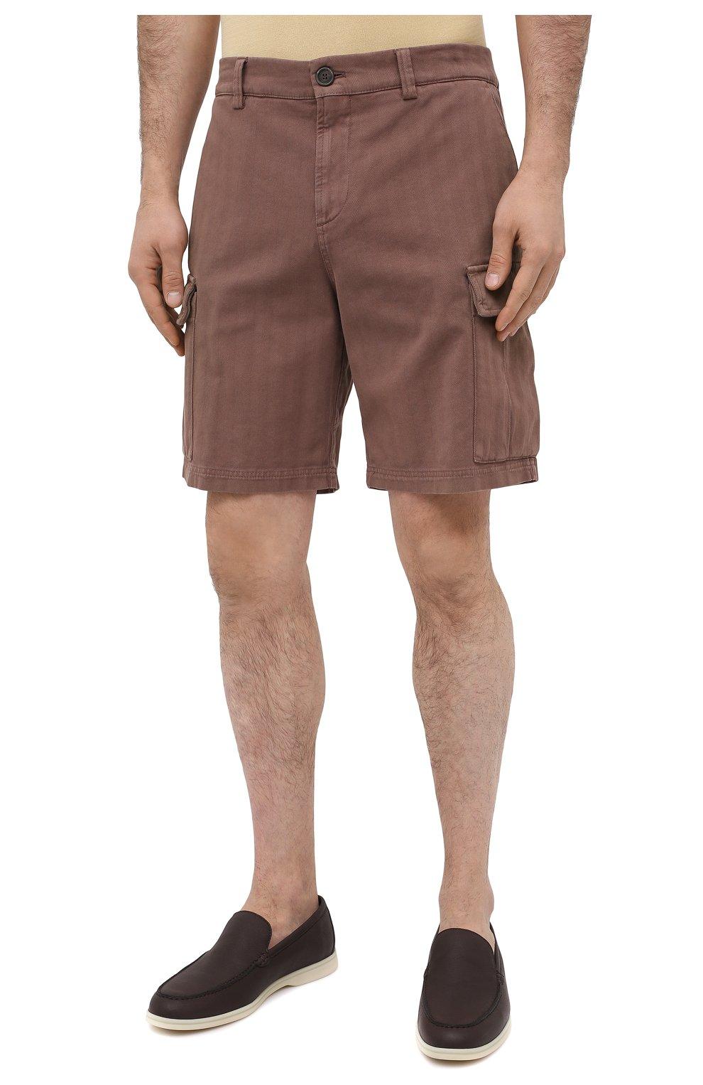 Мужские хлопковые шорты BRUNELLO CUCINELLI коричневого цвета, арт. M269DV0310 | Фото 3