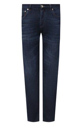 Мужские джинсы BRUNELLO CUCINELLI темно-синего цвета, арт. ME645X1290 | Фото 1 (Длина (брюки, джинсы): Стандартные; Стили: Кэжуэл; Кросс-КТ: Деним; Силуэт М (брюки): Прямые; Материал внешний: Хлопок; Детали: Потертости)