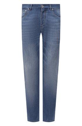 Мужские джинсы BRUNELLO CUCINELLI голубого цвета, арт. ME645X1290 | Фото 1 (Материал внешний: Хлопок; Детали: Потертости; Длина (брюки, джинсы): Стандартные; Силуэт М (брюки): Прямые; Стили: Кэжуэл; Кросс-КТ: Деним)