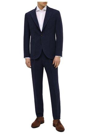 Мужской льняной костюм BRUNELLO CUCINELLI темно-синего цвета, арт. MW431EDNT | Фото 1 (Материал внешний: Лен; Рукава: Длинные; Стили: Классический; Материал подклада: Купро; Костюмы М: Однобортный)