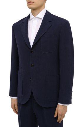 Мужской льняной костюм BRUNELLO CUCINELLI темно-синего цвета, арт. MW431EDNT | Фото 2 (Материал внешний: Лен; Рукава: Длинные; Стили: Классический; Материал подклада: Купро; Костюмы М: Однобортный)