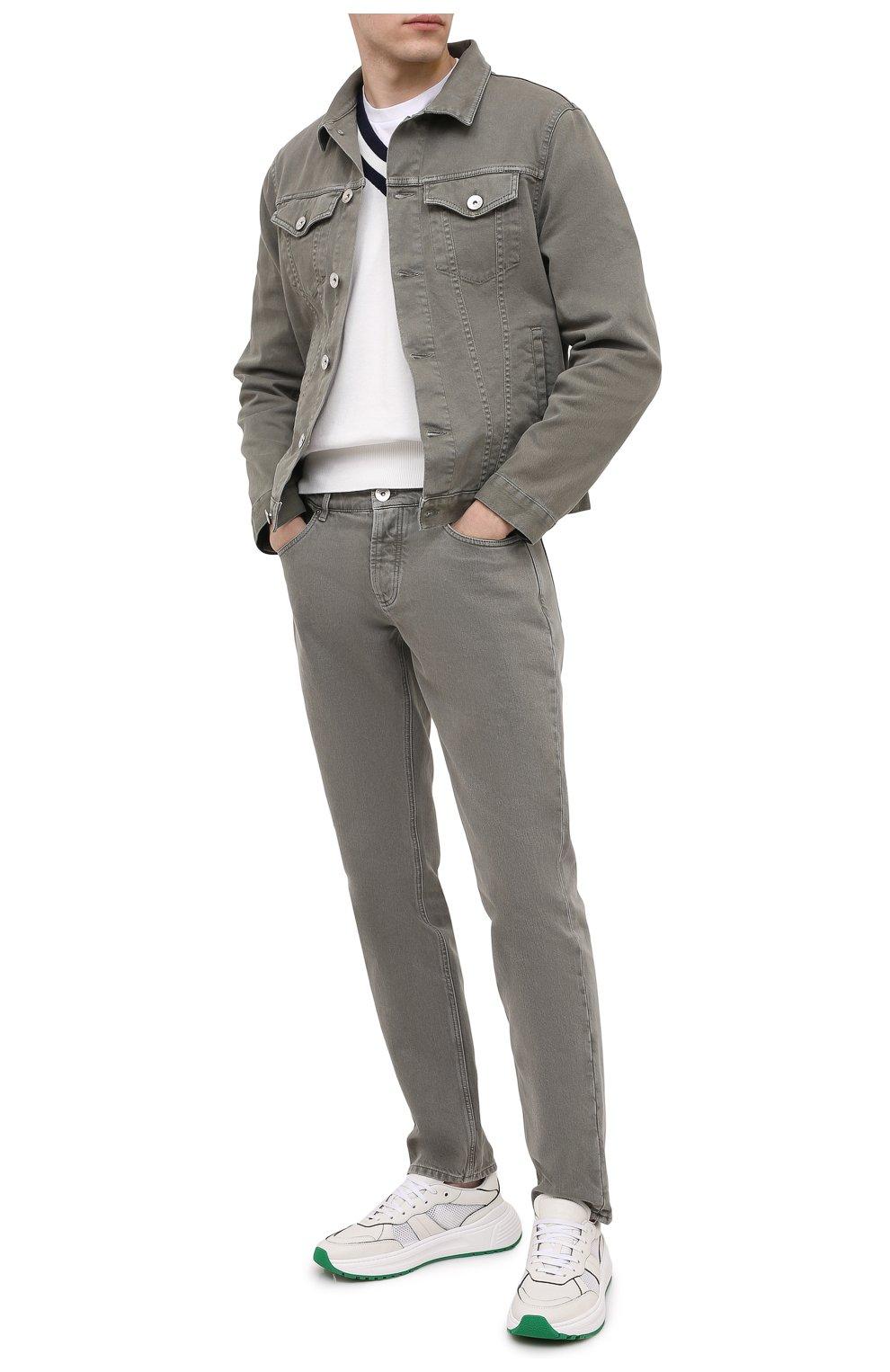 Мужская джинсовая куртка BRUNELLO CUCINELLI хаки цвета, арт. M277P6845   Фото 2