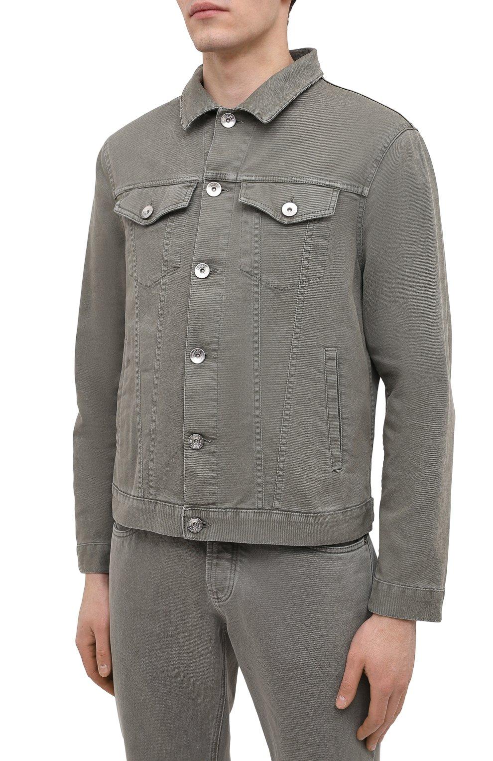 Мужская джинсовая куртка BRUNELLO CUCINELLI хаки цвета, арт. M277P6845   Фото 3