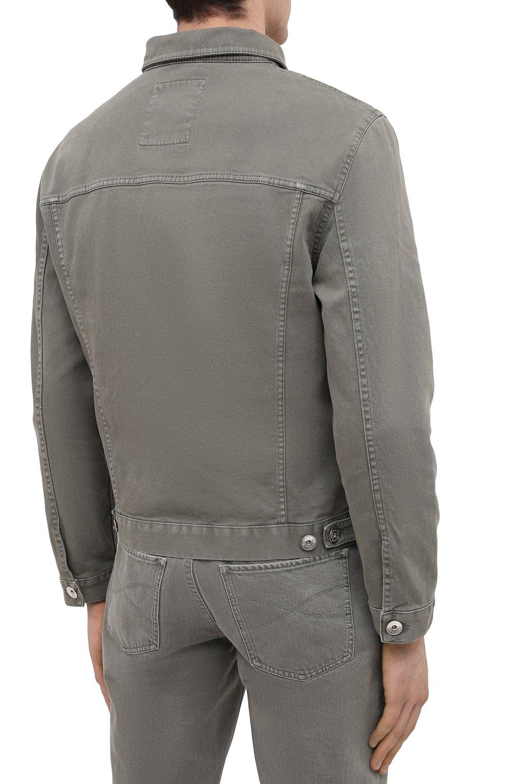 Мужская джинсовая куртка BRUNELLO CUCINELLI хаки цвета, арт. M277P6845   Фото 4
