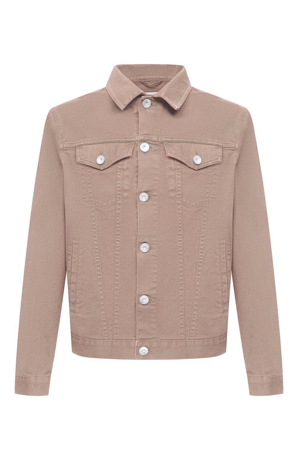 Мужская джинсовая куртка BRUNELLO CUCINELLI бежевого цвета, арт. M277P6845 | Фото 1 (Кросс-КТ: Куртка, Деним; Рукава: Длинные; Материал внешний: Хлопок; Длина (верхняя одежда): Короткие; Стили: Кэжуэл)