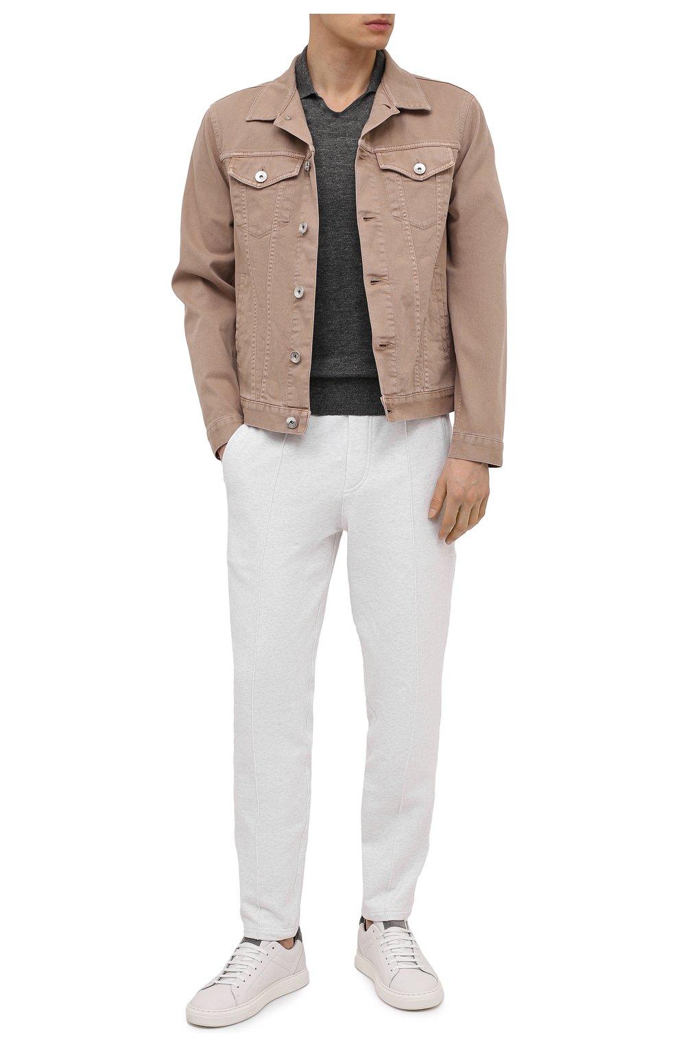Мужская джинсовая куртка BRUNELLO CUCINELLI бежевого цвета, арт. M277P6845 | Фото 2 (Кросс-КТ: Куртка, Деним; Рукава: Длинные; Материал внешний: Хлопок; Длина (верхняя одежда): Короткие; Стили: Кэжуэл)