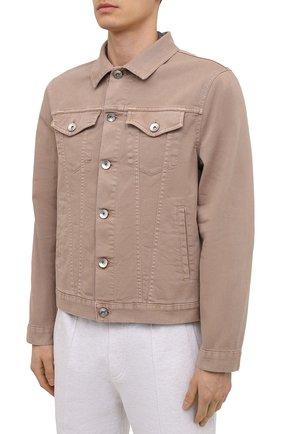 Мужская джинсовая куртка BRUNELLO CUCINELLI бежевого цвета, арт. M277P6845 | Фото 3 (Кросс-КТ: Куртка, Деним; Рукава: Длинные; Материал внешний: Хлопок; Длина (верхняя одежда): Короткие; Стили: Кэжуэл)