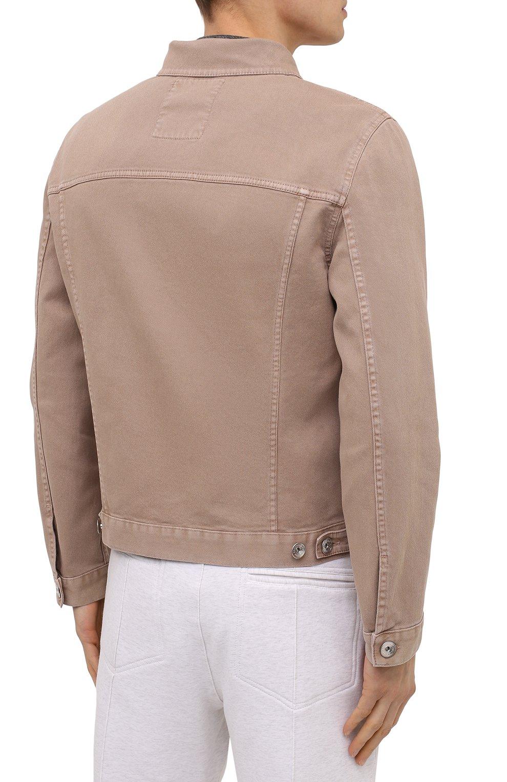 Мужская джинсовая куртка BRUNELLO CUCINELLI бежевого цвета, арт. M277P6845 | Фото 4 (Кросс-КТ: Куртка, Деним; Рукава: Длинные; Материал внешний: Хлопок; Длина (верхняя одежда): Короткие; Стили: Кэжуэл)