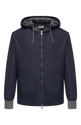Мужская куртка BRUNELLO CUCINELLI синего цвета, арт. MW4386194 | Фото 1 (Стили: Кэжуэл; Длина (верхняя одежда): Короткие; Кросс-КТ: Куртка, Ветровка; Материал подклада: Синтетический материал; Рукава: Длинные; Материал внешний: Синтетический материал)
