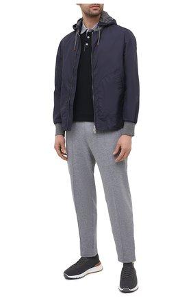 Мужская куртка BRUNELLO CUCINELLI синего цвета, арт. MW4386194 | Фото 2 (Стили: Кэжуэл; Длина (верхняя одежда): Короткие; Кросс-КТ: Куртка, Ветровка; Материал подклада: Синтетический материал; Рукава: Длинные; Материал внешний: Синтетический материал)
