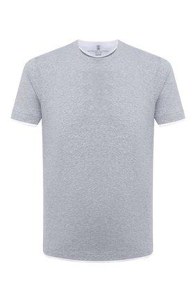 Мужская хлопковая футболка BRUNELLO CUCINELLI серого цвета, арт. M0T617427 | Фото 1