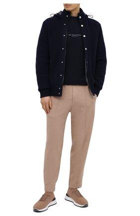 Мужская хлопковая футболка BRUNELLO CUCINELLI темно-синего цвета, арт. M0T817110 | Фото 2 (Длина (для топов): Стандартные; Материал внешний: Хлопок; Принт: С принтом; Стили: Кэжуэл; Рукава: Короткие)