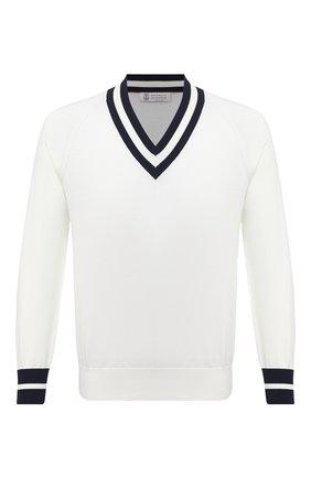 Мужской хлопковый пуловер BRUNELLO CUCINELLI белого цвета, арт. M2917902 | Фото 1