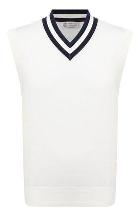 Мужской хлопковый жилет BRUNELLO CUCINELLI белого цвета, арт. M2917907 | Фото 1