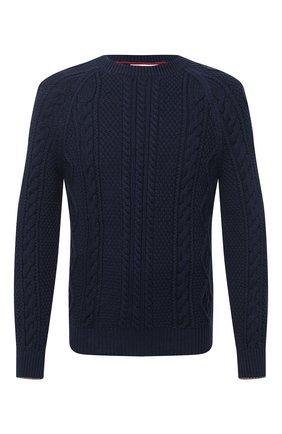 Мужской хлопковый свитер BRUNELLO CUCINELLI темно-синего цвета, арт. M79501600 | Фото 1 (Рукава: Длинные; Принт: Без принта; Материал внешний: Хлопок; Длина (для топов): Стандартные; Стили: Кэжуэл; Мужское Кросс-КТ: Свитер-одежда)