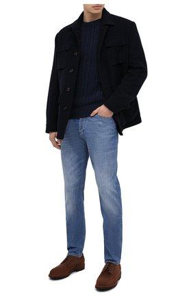 Мужской хлопковый свитер BRUNELLO CUCINELLI темно-синего цвета, арт. M79501600 | Фото 2 (Рукава: Длинные; Принт: Без принта; Материал внешний: Хлопок; Длина (для топов): Стандартные; Стили: Кэжуэл; Мужское Кросс-КТ: Свитер-одежда)