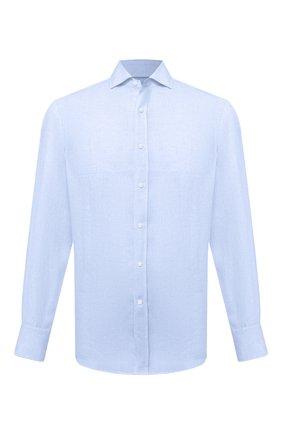 Мужская льняная рубашка BRUNELLO CUCINELLI голубого цвета, арт. MB6080028 | Фото 1