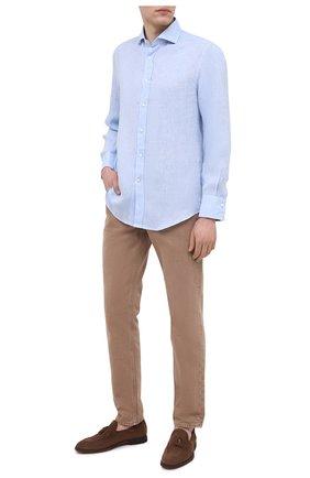 Мужская льняная рубашка BRUNELLO CUCINELLI голубого цвета, арт. MB6080028 | Фото 2