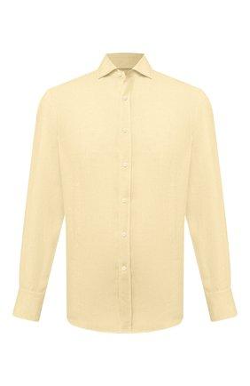 Мужская льняная рубашка BRUNELLO CUCINELLI желтого цвета, арт. MB6080028 | Фото 1 (Манжеты: На пуговицах; Материал внешний: Лен; Рубашки М: Classic Fit; Принт: Однотонные; Рукава: Длинные; Длина (для топов): Стандартные; Случай: Повседневный; Стили: Кэжуэл; Воротник: Мандарин)