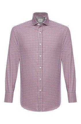 Мужская хлопковая рубашка BRUNELLO CUCINELLI разноцветного цвета, арт. MN6170028 | Фото 1 (Материал внешний: Хлопок; Рубашки М: Classic Fit; Стили: Кэжуэл; Манжеты: На пуговицах; Длина (для топов): Стандартные; Принт: Клетка; Рукава: Длинные; Случай: Повседневный; Воротник: Акула)