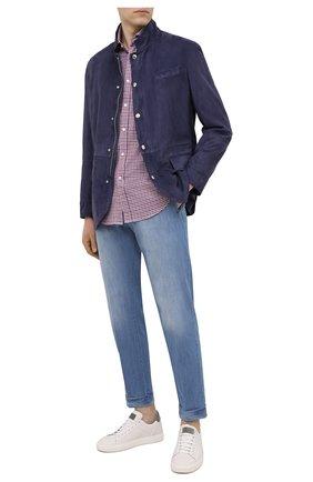 Мужская хлопковая рубашка BRUNELLO CUCINELLI разноцветного цвета, арт. MN6170028 | Фото 2 (Материал внешний: Хлопок; Рубашки М: Classic Fit; Стили: Кэжуэл; Манжеты: На пуговицах; Длина (для топов): Стандартные; Принт: Клетка; Рукава: Длинные; Случай: Повседневный; Воротник: Акула)