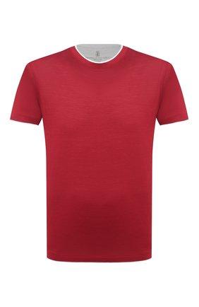 Мужская футболка из шелка и хлопка BRUNELLO CUCINELLI красного цвета, арт. MTS467427 | Фото 1 (Материал внешний: Шелк, Хлопок; Принт: Без принта; Рукава: Короткие; Длина (для топов): Стандартные; Стили: Кэжуэл)