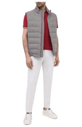 Мужская футболка из шелка и хлопка BRUNELLO CUCINELLI красного цвета, арт. MTS467427 | Фото 2 (Материал внешний: Шелк, Хлопок; Принт: Без принта; Рукава: Короткие; Длина (для топов): Стандартные; Стили: Кэжуэл)