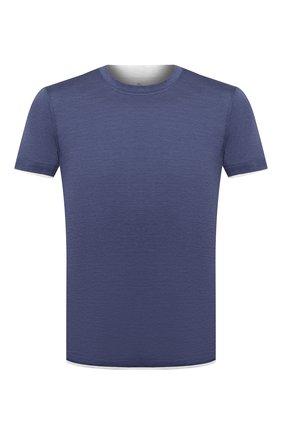 Мужская футболка из шелка и хлопка BRUNELLO CUCINELLI синего цвета, арт. MTS467427 | Фото 1 (Материал внешний: Шелк, Хлопок; Длина (для топов): Стандартные; Стили: Кэжуэл; Принт: Без принта; Рукава: Короткие)