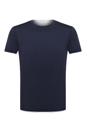 Мужская футболка из шелка и хлопка BRUNELLO CUCINELLI темно-синего цвета, арт. MTS467427   Фото 1
