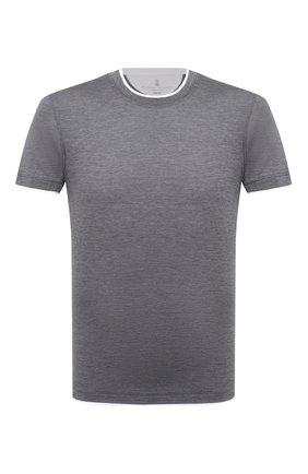 Мужская футболка из шелка и хлопка BRUNELLO CUCINELLI темно-серого цвета, арт. MTS467427 | Фото 1