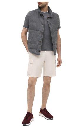 Мужская футболка из шелка и хлопка BRUNELLO CUCINELLI темно-серого цвета, арт. MTS467427 | Фото 2 (Принт: Без принта; Рукава: Короткие; Длина (для топов): Стандартные; Стили: Кэжуэл; Материал внешний: Шелк, Хлопок)