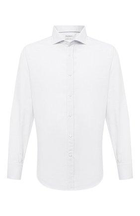 Мужская хлопковая рубашка BRUNELLO CUCINELLI белого цвета, арт. MW6370028 | Фото 1