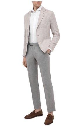 Мужская хлопковая рубашка BRUNELLO CUCINELLI белого цвета, арт. MW6370028 | Фото 2