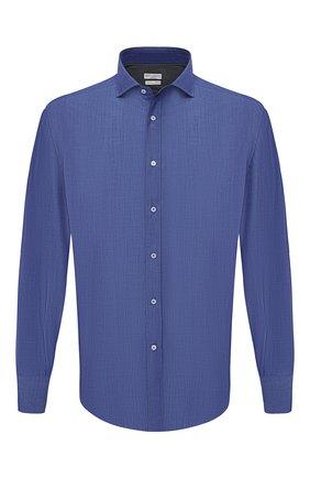 Мужская хлопковая рубашка BRUNELLO CUCINELLI темно-синего цвета, арт. MW6460028 | Фото 1 (Рукава: Длинные; Случай: Повседневный; Материал внешний: Хлопок; Стили: Кэжуэл; Длина (для топов): Стандартные; Принт: Однотонные; Манжеты: На пуговицах; Рубашки М: Regular Fit; Воротник: Акула)