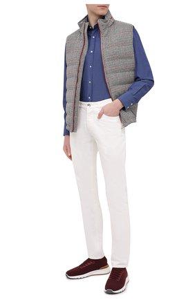 Мужская хлопковая рубашка BRUNELLO CUCINELLI темно-синего цвета, арт. MW6460028 | Фото 2 (Рукава: Длинные; Случай: Повседневный; Материал внешний: Хлопок; Стили: Кэжуэл; Длина (для топов): Стандартные; Принт: Однотонные; Манжеты: На пуговицах; Рубашки М: Regular Fit; Воротник: Акула)