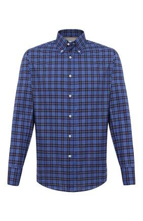 Мужская хлопковая рубашка BRUNELLO CUCINELLI темно-синего цвета, арт. MW6640038 | Фото 1