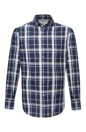 Мужская рубашка из хлопка и льна BRUNELLO CUCINELLI темно-синего цвета, арт. MW6660028 | Фото 1 (Принт: Клетка; Стили: Кэжуэл; Рукава: Длинные; Длина (для топов): Стандартные; Манжеты: На пуговицах; Материал внешний: Хлопок; Рубашки М: Regular Fit; Случай: Повседневный; Воротник: Акула)