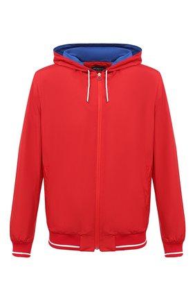 Мужской бомбер KITON красного цвета, арт. UW0912MV07T61 | Фото 1 (Рукава: Длинные; Материал внешний: Синтетический материал; Принт: Без принта; Длина (верхняя одежда): Короткие; Материал подклада: Купро; Кросс-КТ: Куртка; Стили: Кэжуэл)