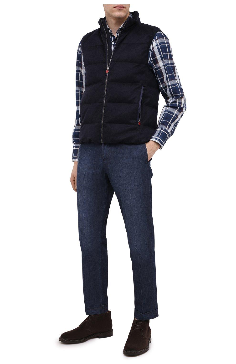 Мужской пуховый жилет KITON темно-синего цвета, арт. UW0949MK01140 | Фото 2
